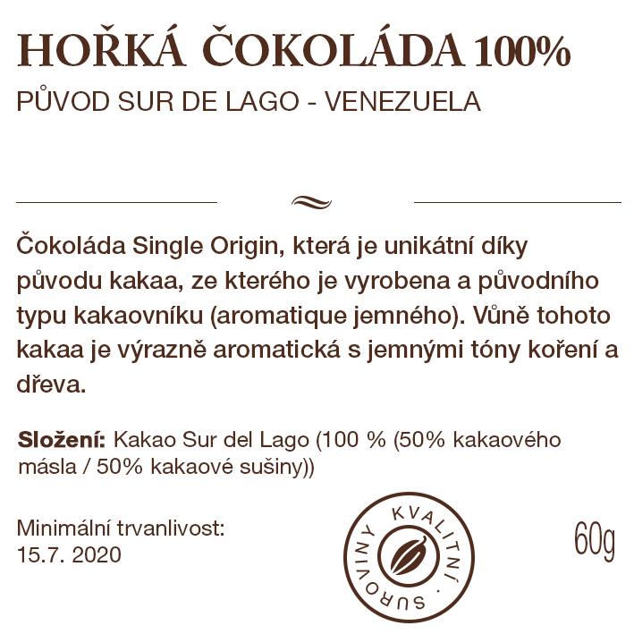 100% čokoláda, tabulka čokolády Venezuela